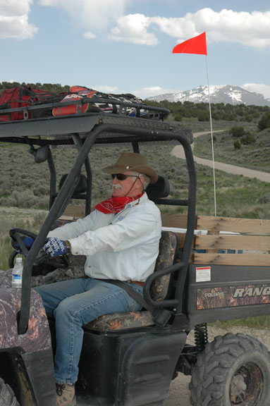 Del sports a big grin while driving this Polaris Ranger UTV on the ATV Jamboree tour. The Polaris was provided by Wright Motor Co. of Elko, NV.